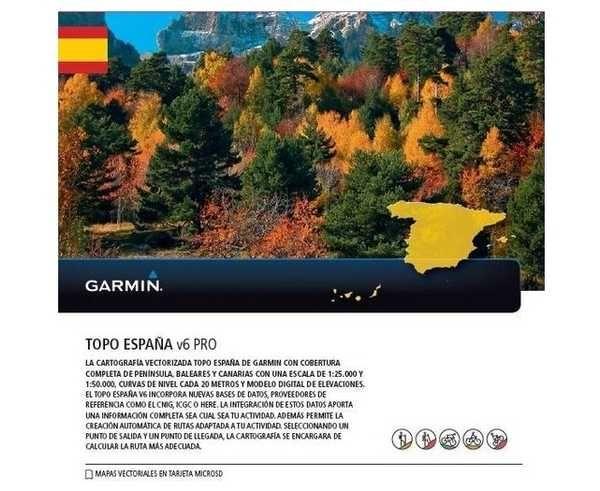 Bibliografies-Cartografies Marca GARMIN Activitat esportiva Alpinisme-Mountaineering, Article: TARJETA MICROSD/SD: TOPO ESPANA V6 PRO.