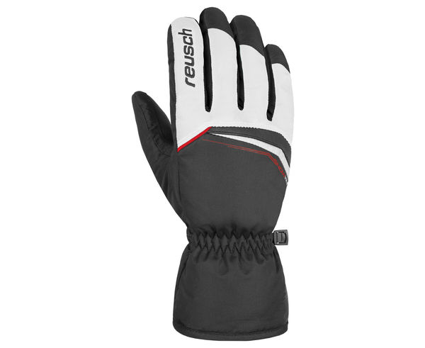 Reusch Profi SL Black Snow Ski Glove Black White Fire Red